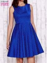 Niebieska rozkloszowana sukienka w groszki                                  zdj.                                  1