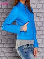 Niebieska skórzana kurtka o klasycznym kroju                                  zdj.                                  3