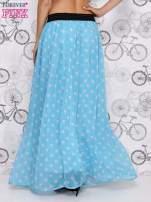 Niebieska spódnica maxi w szare grochy                                  zdj.                                  4