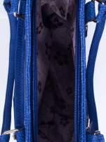 Niebieska torba shopper bag ze złotymi okuciami przy rączkach                                  zdj.                                  4