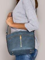 Niebieska torebka ze złotymi suwakami                                  zdj.                                  4