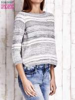 Niebieski dziergany sweter z rękawem 3/4                                                                          zdj.                                                                         3