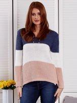 Niebieski-ecru sweter z perełkami                                  zdj.                                  1