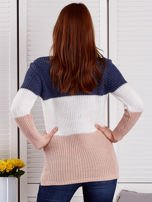 Niebieski-ecru sweter z perełkami                                  zdj.                                  2