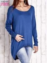 Niebieski sweter oversize z dekoltem w łódkę                                  zdj.                                  3