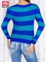 Niebieski sweter w paski                                   zdj.                                  4