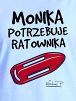 Niebieski t-shirt damski MONIKA POTRZEBUJE RATOWNIKA by Markus P                                  zdj.                                  2