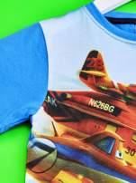 Niebieski t-shirt dziecięcy z nadrukiem SAMOLOTY