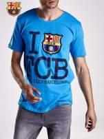 Niebieski t-shirt męski FC BARCELONA                                  zdj.                                  5