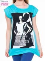 Niebieski t-shirt z nadrukiem I'M NOT PERFECT BUT I AM LIMITED EDITION                                  zdj.                                  4