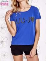Niebieski t-shirt z napisem LIU J❤                                                                          zdj.                                                                         1