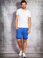 Niebieskie dresowe szorty męskie z troczkami                                  zdj.                                  3