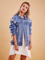 Niebieskie jeansowa kurtka z przedarciami                                   zdj.                                  1