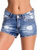 Niebieskie jeansowe szorty z wytarciami                                  zdj.                                  1