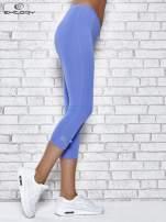 Niebieskie legginsy sportowe termalne z patką z dżetów                                  zdj.                                  3