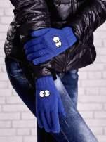 Fioletowe rękawiczki z nadrukiem oczu                                                                          zdj.                                                                         3