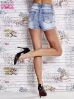 Niebieskie szorty jeansowe z wysokim stanem                                  zdj.                                  2