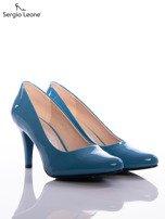 Niebieskie szpilki Sergio Leone z lakierowaną cholewką                                  zdj.                                  2