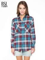 Niebiesko-czerwona bawełniana dłuższa koszula w kratę                                                                          zdj.                                                                         1