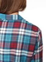 Niebiesko-czerwona bawełniana dłuższa koszula w kratę                                  zdj.                                  7