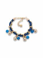 Niebiesko - złota bransoletka z zawieszkami                                                                          zdj.                                                                         1