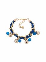 Niebiesko - złota bransoletka z zawieszkami                                  zdj.                                  2