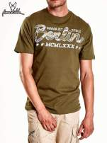 Oliwkowy t-shirt męski z nadrukiem moro