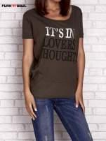 Oliwkowy t-shirt z napisem IT'S IN LOVERS THOUGHTS Funk n Soul                                  zdj.                                  1
