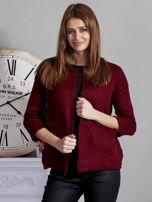 Otwarty sweter z kieszeniami bordowy                                  zdj.                                  1