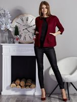 Otwarty sweter z kieszeniami bordowy                                  zdj.                                  4