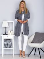 Otwarty sweter z warkoczowym wzorem i kapturem szary                                  zdj.                                  4