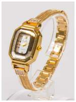 Ozdobny złoty damski zegarek z cyrkoniami na stalowej bransolecie z łańcuszkami