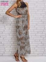 Panterkowa sukienka maxi z koronkowym półgolfem                                  zdj.                                  3