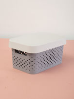 Pastelowe jasnoszare pudełko do przechowywania z pokrywką                                  zdj.                                  1
