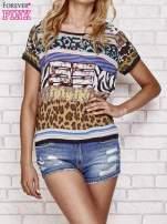 Patchworkowy t-shirt z numerem 55