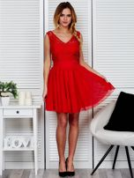 Plisowana sukienka z koronkową górą czerwona                                  zdj.                                  4