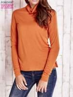 Pomarańczowa gładka bluzka z golfem                                                                          zdj.                                                                         1