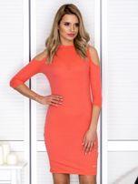 Pomarańczowa sukienka cold arms prążkowana                                  zdj.                                  1
