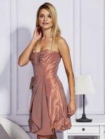Pomarańczowa sukienka z drapowaniem                                  zdj.                                  3