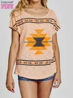 Pomarańczowy t-shirt we wzory azteckie z dżetami