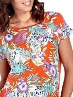 Pomarańczowy t-shirt z nadrukiem floral print                                  zdj.                                  5