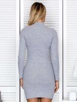 Prążkowana sukienka lace up z chokerem szara                                  zdj.                                  2