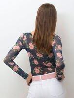 Przezroczysta bluzka z siatki w róże granatowa                                  zdj.                                  2