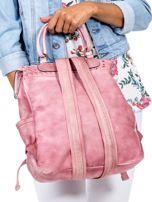 Pudroworóżowy plecak damski z eko skóry z plecionką i ażurowaniem                                  zdj.                                  3