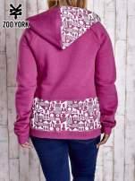 Purpurowa bluza z graficznymi wstawkami PLUS SIZE