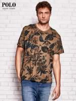 RALPH LAUREN Brązowy t-shirt męski z roślinnym nadrukiem                                  zdj.                                  1