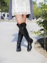 ROCCOBAROCCO czarne skórzane kozaki genuine leather do kolan z asymetryczną cholewką                                  zdj.                                  1