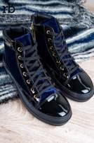 ROCCOBAROCCO granatowe welurowe sneakersy z lakierowanymi wstawkami                                                                           zdj.                                                                         2