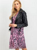 RUE PARIS Różowo-czarna sukienka Tiger                                  zdj.                                  3