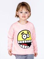 Różowa bawełniana bluzka dziecięca z zabawną emotikonką                                  zdj.                                  1